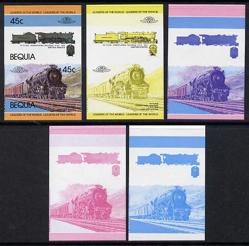 St Vincent - Bequia 1984 Locomotives #1 (Leaders of the World) 45c (4-6-2 Pennsylvania Railroad K4 Class) set of 5 imperf se-tenant progressive proof pairs comprising two individual colours, two 2-colour and all 4-colour composites unmounted mint