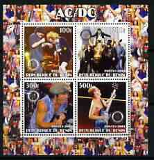 Benin 2003 AC/DC perf sheetlet containing set of 4 values each with Rotary International Logo unmounted mint