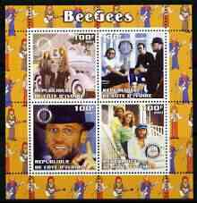 Ivory Coast 2003 The Bee Gees perf sheetlet containing set of 4 values each with Rotary International Logo unmounted mint