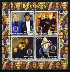 Benin 2003 The Bee Gees perf sheetlet containing set of 4 values each with Rotary International Logo unmounted mint