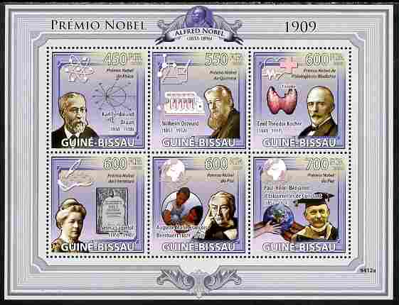 Guinea - Bissau 2009 Nobel Prize Winners for 1909 perf sheetlet containing 6 values unmounted mint Yv 3032-37