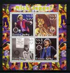 Eritrea 2003 Mick Jagger (Rolling Stones) perf sheetlet containing set of 4 values each with Rotary International Logo unmounted mint
