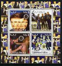 Eritrea 2003 Queen (pop group) #1 perf sheetlet containing set of 4 values each with Rotary International Logo unmounted mint