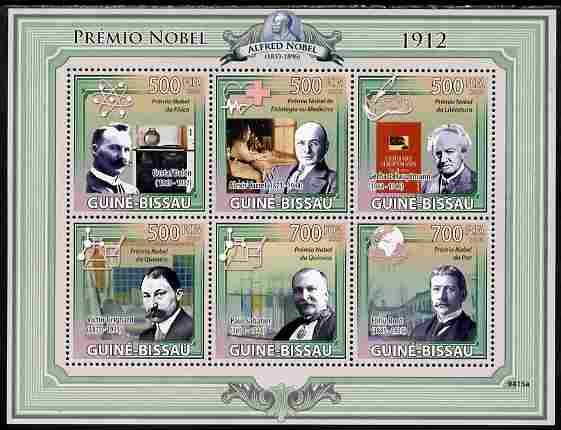 Guinea - Bissau 2009 Nobel Prize Winners for 1912 perf sheetlet containing 6 values unmounted mint Yv 3049-54