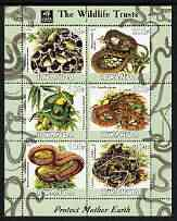 Rwanda 2003 The Wildlife Trusts perf sheetlet containing set of 6 values (Snakes) unmounted mint