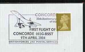 Postmark - Great Britain 2004 cover for 35th Anniversary of First Flight of Concorde with special illustrated cancel