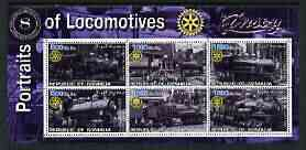 Somalia 2002 Portraits of Locomotives #1 perf sheetlet containing set of 6 values (Mikado, Shay x 4 & Side Tank) each with Rotary logo, unmounted mint