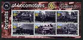 Somalia 2002 Portraits of Locomotives #3 perf sheetlet containing set of 6 values (Shay x 5 & Climax) each with Rotary logo, unmounted mint