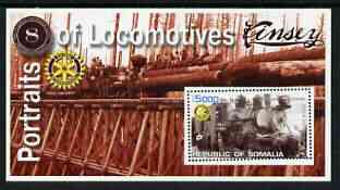 Somalia 2002 Portraits of Locomotives #3 perf m/sheet with Rotary logo, unmounted mint