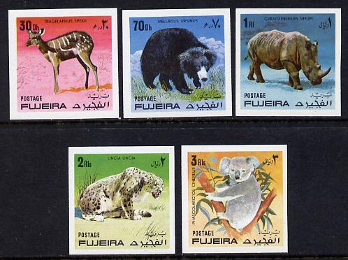 Fujeira 1971 Wild Animals imperf set of 5 unmounted mint (Mi 792-6B)