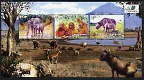 Ivory Coast 2003 The Nature Conservancy perf sheetlet containing set of 3 values (Elephants, Apes & Rhinos) unmounted mint