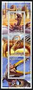 Ivory Coast 2003 Prehistoric Animals perf sheetlet containing set of 3 values unmounted mint