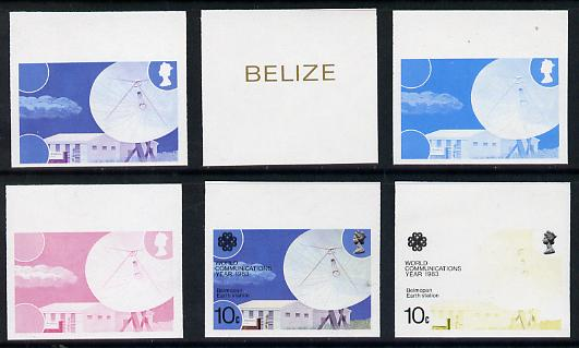 Belize 1983 Communications 10c Belmopan Earth Station x 6 imperf progressive proofs comprising various individual or composite colours unmounted mint