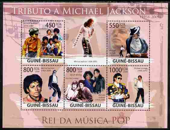 Guinea - Bissau 2009 Michael Jackson perf sheetlet containing 5 values unmounted mint Yv 3055-59