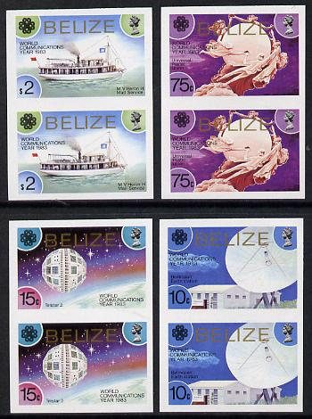 Belize 1983 Communications Year set of 4 in unmounted mint imperf pairs SG 752-5