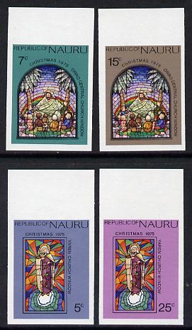 Nauru 1975 Stained Glass Windows Christmas set of 4 in unmounted mint imperf marginal singles