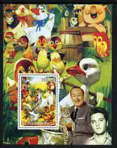 Eritrea 2003 'Ugly Duck' perf m/sheet with portraits of Elvis & Walt Disney, unmounted mint