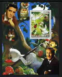 Benin 2003 'Ugly Duck' perf m/sheet with portraits of Elvis & Walt Disney, unmounted mint