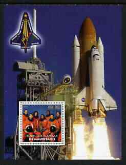 Mauritania 2003 Tribute to Space Shuttle 'Columbia' #2 perf m/sheet (Team on stamp, Shuttle in background) unmounted mint