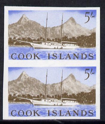 Cook Islands 1963 def 5s (Sailing Ship & Rarotonga) in unmounted mint imperf pair (as SG 173)