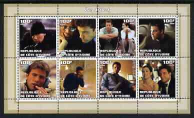 Ivory Coast 2002 Ben Affleck perf sheetlet containing 8 values unmounted mint
