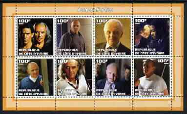 Ivory Coast 2002 Anthony Hopkins perf sheetlet containing 8 values unmounted mint, stamps on films, stamps on cinema, stamps on personalities, stamps on