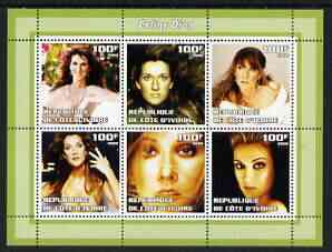 Ivory Coast 2002 Celine Dion perf sheetlet containing 6 values unmounted mint