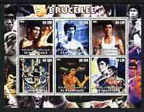 Mauritania 2002 Bruce Lee perf sheetlet containing 6 values unmounted mint