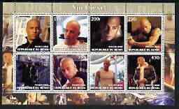 Benin 2002 Vin Diesel perf sheetlet containing 8 values unmounted mint