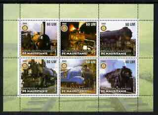 Mauritania 2002 Railway Locos #3 perf sheetlet containing 6 values each with Rotary logo, unmounted mint