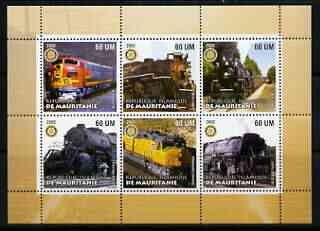 Mauritania 2002 Railway Locos #5 perf sheetlet containing 6 values each with Rotary logo, unmounted mint