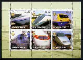 Mauritania 2002 Railway Locos #2 perf sheetlet containing 6 values each with Rotary logo, unmounted mint