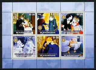 Mauritania 2002 Cartoon Cats #2 (blue border) perf sheetlet containing 6 values each with Rotary logo, unmounted mint