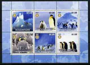 Mauritania 2002 Penguins #2 perf sheetlet containing 6 values each with Rotary logo, unmounted mint
