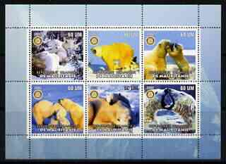 Mauritania 2002 Polar Bears #1 perf sheetlet containing 6 values each with Rotary logo, unmounted mint