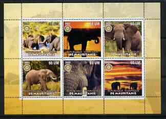 Mauritania 2002 Elephants #2 perf sheetlet containing 6 values each with Rotary logo, unmounted mint