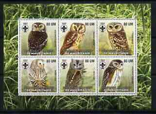 Mauritania 2002 Birds of Prey #7 perf sheetlet containing 6 values (Owls) each with Scout logo unmounted mint