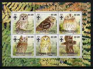 Mauritania 2002 Birds of Prey #8 perf sheetlet containing 6 values (Owls) each with Scout logo unmounted mint