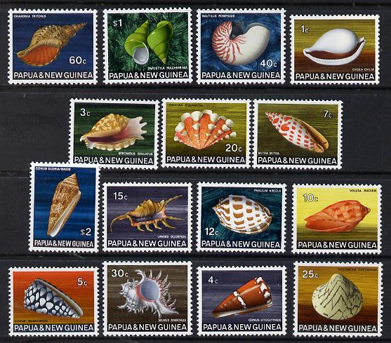 Papua New Guinea 1968-69 Shells definitive set complete 15 values unmounted mint, SG 137-51