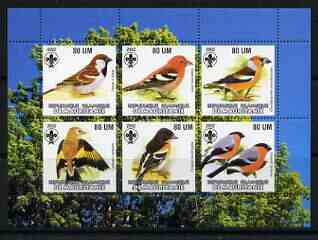 Mauritania 2002 Song Birds perf sheetlet containing 6 values each with Scout logo unmounted mint