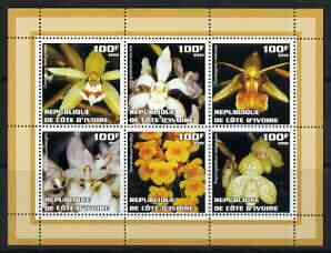 Ivory Coast 2002 Orchids #2 (brown border) perf sheetlet containing 6 values unmounted mint