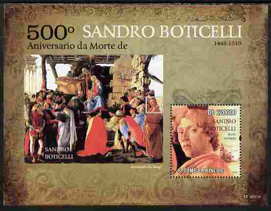 St Thomas & Prince Islands 2010 500th Anniversary of Death of Boticelli perf s/sheet unmounted mint