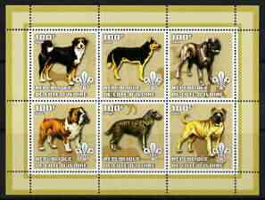 Ivory Coast 2002 Dogs #2 perf sheetlet containing 6 values each with Scout logo unmounted mint