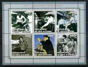 Ivory Coast 2002 Elvis Presley 25th Death Anniversary #2 perf sheetlet containing 6 values unmounted mint