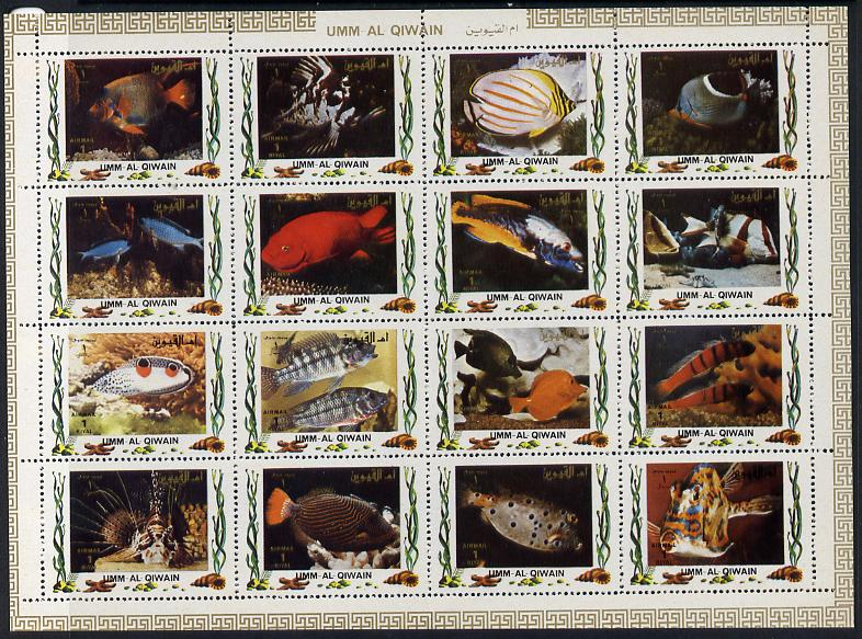 Umm Al Qiwain 1972 Fish #1 sheetlet containing 16 values (Mi 1306-21) unmounted mint