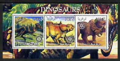 Eritrea 2002 Dinosaurs #04 perf sheetlet containing set of 3 values each with Rotary Logo unmounted mint