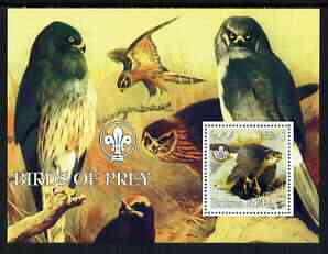 Eritrea 2002 Birds of Prey perf m/sheet with Scouts Logo unmounted mint, stamps on , stamps on  stamps on birds, stamps on  stamps on birds of prey, stamps on  stamps on scouts
