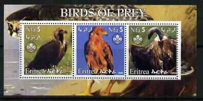Eritrea 2002 Birds of Prey #1 perf sheetlet containing set of 3 values each with Scouts Logo unmounted mint, stamps on birds, stamps on birds of prey, stamps on scouts