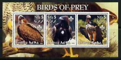 Eritrea 2002 Birds of Prey #2 perf sheetlet containing set of 3 values each with Scouts Logo unmounted mint