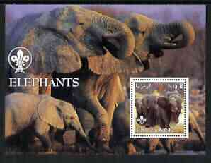 Eritrea 2002 Elephants perf m/sheet with Scouts Logo unmounted mint